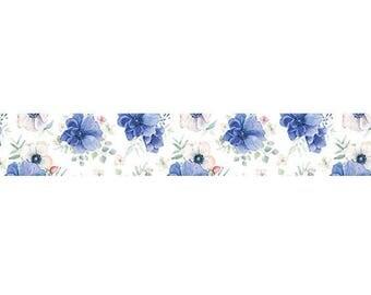 Blue Flower Washi Tape, 15mm