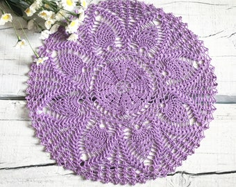 lilac pineapple doily 17 inches Crochet round doily Lace doily Crochet table topper Rustic home decor Summer doilies Gift for mom