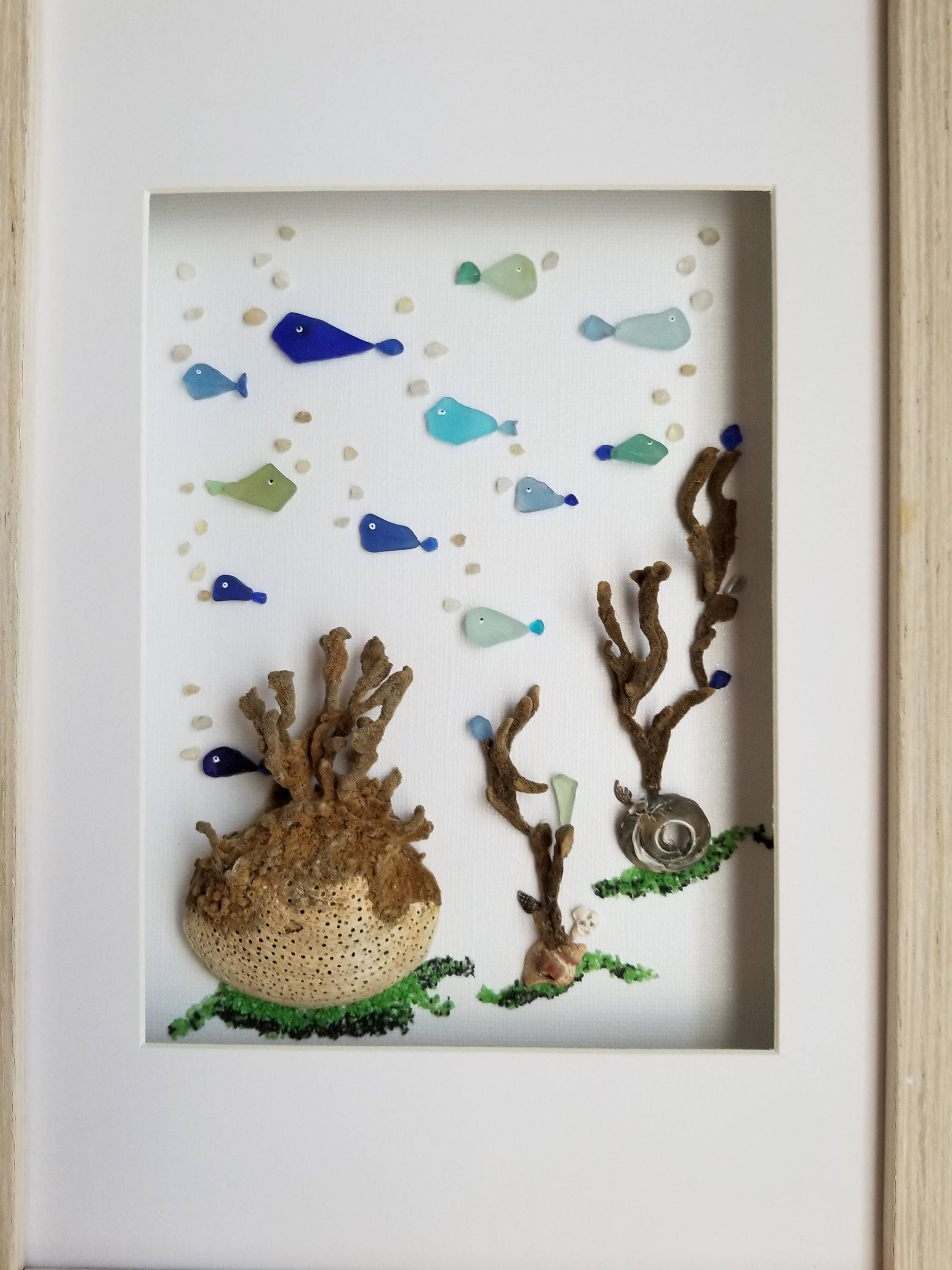 Sea glass art framed sea glass bathroom wall decor costal for Sea glass bathroom ideas