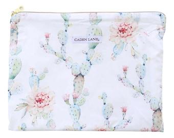 Desert Cactus Blooms Zippered Wet Bag  | White, Sage Cactus Travel Bag | Cloth Diaper Zip Pouch | Southwestern Waterproof Bag