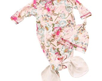 Arlow's Blush Floral | Baby Girl Knot Newborn Layette Knot Gown, Hat Set | Baby Girl Going Home Outfit | Mermaid Knot Gown | Blush and Pink