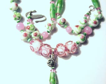 Vintage Pink Roses Wedding Cake Glass Bead Necklace Sterling Silver Bail