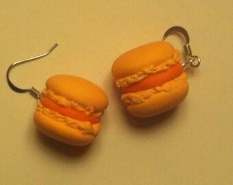 Orange macaroon earrings
