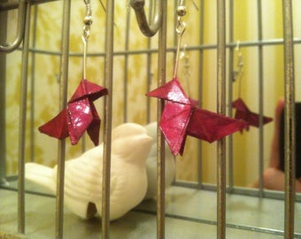 Eco friendly red origami earrings
