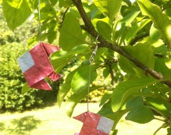 Origami pink fish earrings