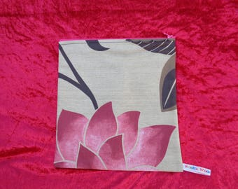 Pink Lotus - Top Zip Large Poppins Waterproof Lined Zip Pouch - Sandwich bag - Eco - Snack - Bikini Bag - Lunch Bag - Make Up - Beauty Bag