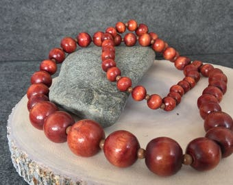 """Vintage Wood, Beaded, Necklace, Graduated, Cherry color, 29"""", 1970s"""