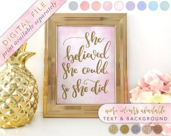 She Believed She Could So She Did, Printable, Nursery Print, Nursery Decor, Baby Shower, Printable Nursery Print, Girl Art, Baby Girl Print