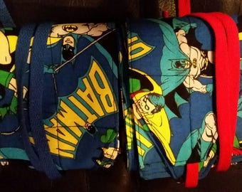 Batman & Robin fabric wrist wraps for crossfit or strength training