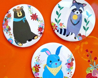 Set of 6 coasters 'The three friends'