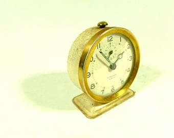 French Vintage Mechanical Alarm Clock, 1950s R. Delahaye Alarm Clock