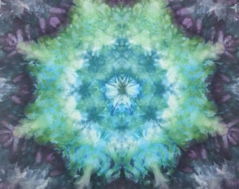 mandala tie dye tapestry or wall hanging in blue greens black and purple