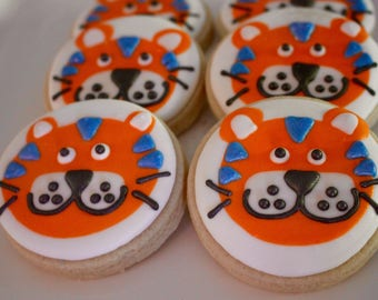 Tiger Sugar Cookies - Lion Cookies - Animal Cookies - Birthday Party Cookies - School Mascot - Sports Team Cookies - 1 Dozen