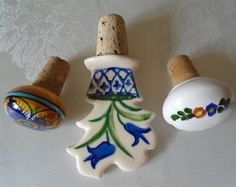 hand painted porcelain bottle stoppers x 3