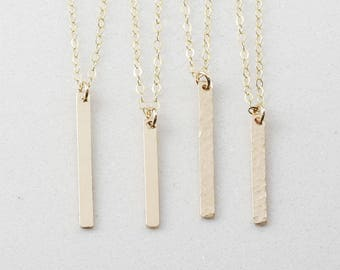 Vertical Bar Necklace, Gold Tag Necklace, Gift for Her, 14k Gold Fill, Sterling Silver, Rose Gold Fill, Bridesmaid Gift (OL V 20.3-25.3 )