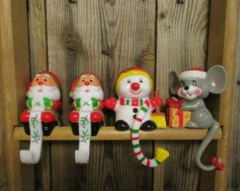 4 Vintage Christmas Stocking Holders