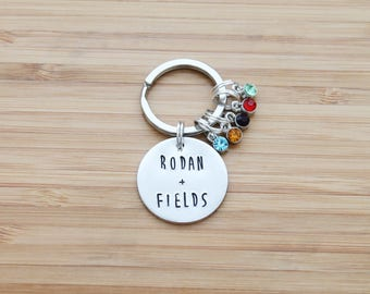 hand stamped rodan and fields keychain | rodan + fields