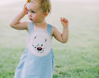 Vintage Embroidered OOAK Size 1 Pinafore Dress - Last One - 12-18mo