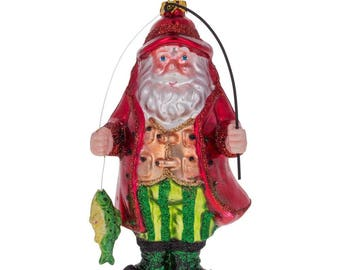 "5.5"" Santa Claus Fishing Blown Glass Christmas Ornament"