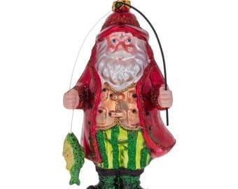 "5.5"" Santa Claus Fishing Blown Glass Christmas Ornament"