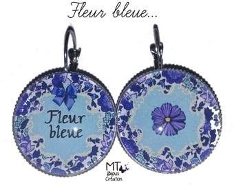 "Earrings mismatched ""Blue flower"""