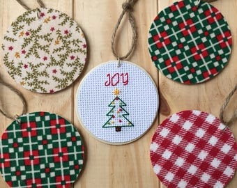 Joy Christmas Ornament, Christmas Tree Ornament, Wooden Ornament, Cross Stitch Ornament, Flannel Ornament