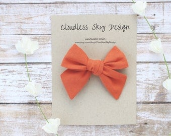hair bows, orange bow, girls hair bow, school hair bow, hair bow for girls, baby hair bow, fall bow, orange bow clip, tied bow