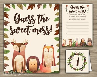 Woodland - Baby Shower - Guess The Sweet Mess - Game - Cards - Sign - Tents - PRINTABLE - INSTANT DOWNLOAD - Diaper Game - 0104