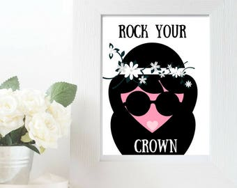 Rock Your Crown Flowers Wall Art