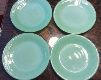 Four Vintage Fire King, Jadite, Salad, Jane Ray, Dinner Plates measureing 9 inches in diameter Modern, Retro,