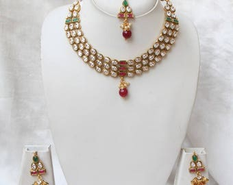 High Neck Kundan Necklace Earring Set / Kundan Choker Jhumka Earring Set / Indian Bridal Jewelry / Bollywood Jewelry / Gift For Her