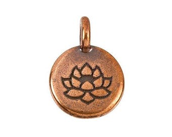 Lotus Flower Charm TierraCast Round Metal Pewter Yoga Spirit Boho Meditation Jewelry Drop Pendant 4 pieces Made in America