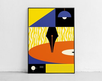 Music & Literature. Wall art. Original poster. High quality giclée print. signed by designer.