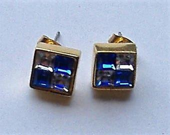 1980S GLASS BLUE /CLEAR  earrings