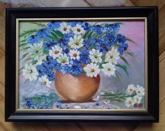 Flowers in vase-still life miniature painting -oil on canvas on wood/ oil painting