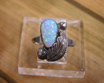 Sterling Silver Ring with Lab Opal Stone
