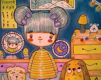 Manguita roomy girls, a set of 2 illustrations