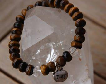 Bracelet with semi-precious Tiger eye beads