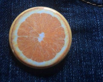 Orange 1.25 pin back button, citrus pin back button, fruity pins, foodie pins