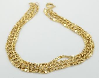 "Vintage 3 Strand Gold Tone Chain Bracelet- 7"""