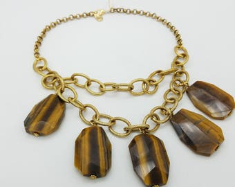 Vintage Yochi NY Tiger's Eye Bib Statement Necklace - 20""
