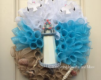 Lighthouse Wreath, Beach Wreath, Nautical Wreath, Coastal Wreath, Lighthouse Mesh Wreath, Summer Mesh Wreath, Beach Mesh Wreath, Beach Decor