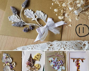 x5 Flower Card  / Dried flower card / Real flower card* birthday card* thankyou card* sympathy card* anniversary card* mother's day card