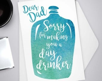 Greeting Card, Father's Day Day Drinker, Happy Father's Day, Stationery, Note Card, Humor, Dear Dad, Father, Watercolor
