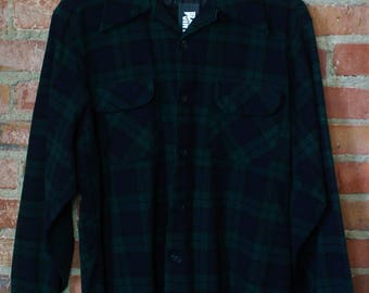 Vintage Pendleton Blue and Green Plaid Flannel Shirt Medium