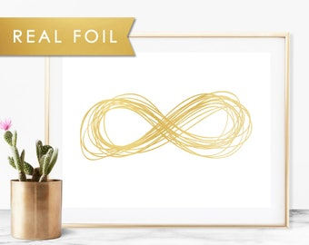 Infinity Sketch with Real Gold Foil Art Print 8x10, A3, A4, A5