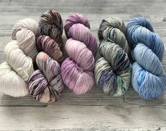 MadeToOrder: SHAWL-Kit - set of 5 skeins (choose a yarnbase) - purple, blue grey colorways