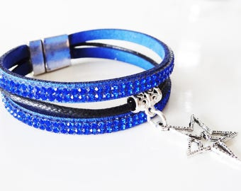Silver Star charm with dark blue rhinestone bracelet