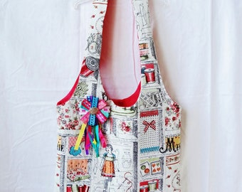 Multicolor haberdashery pattern shoulder bag / handbag / tote for 35 x 32 cm