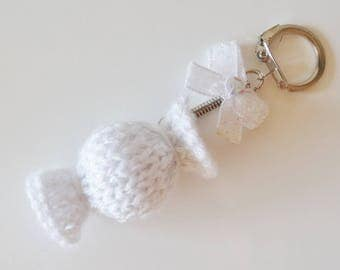 Key chain / white candy bag charm
